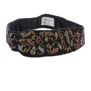 Christian Dior black beaded belt floral design s/m